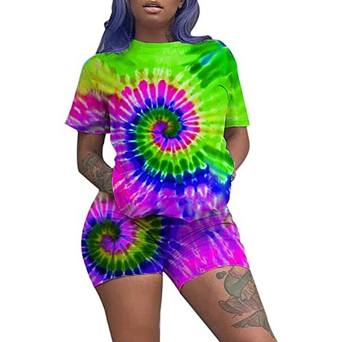 Newest Arrival Women Outfits 2 Piece Set Summer Casual Color Tie Dye Short Sleeve T-shirt + Shorts Set Sports Suits Outfits