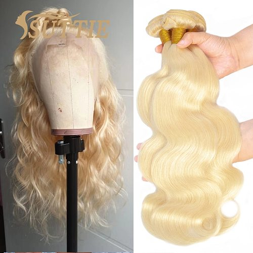 Suttie 613 Blonde Body Wave Human Hair Bundles Peruvian Remy Hair Extension Honey Blonde 1/3/4 Bundles 20 22 24 Inch Hair Weave