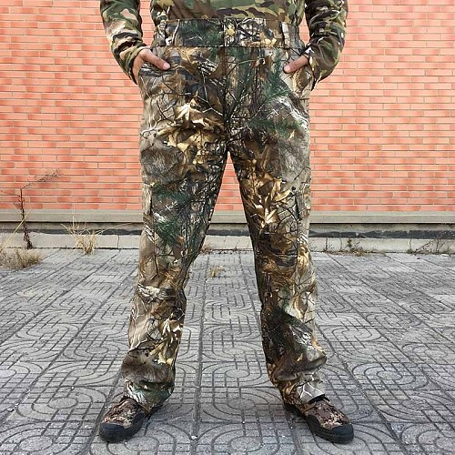 Men Bionic Camouflage Pants Pine Branches Cotton Hunting Pants Breathable Trousers Camouflage Hunting Trousers Fishing Pants