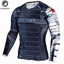 Winter Soldier 3D Printed Sport Shirt Men Running Shirts Fitness Tights Men Cycling Quick Dry Rashguard MMA Compression Tops
