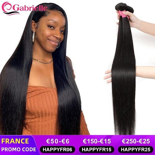 Gabrielle Brazilian Straight Hair Bundles 30 32 34 40 Inch Natural Color Cheap Human Hair Weave Bundles Remy Hair Exensions