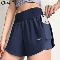 Summer Women High Wasit Athletic Running 2 in 1 Short Skirt Double Layer with Inner Pocket Girl Casual Tennis Sports Yoga Shorts