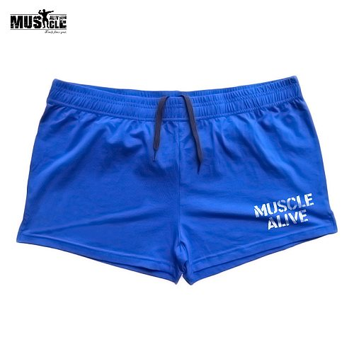MUSCLE ALIVE MEN BODYBUILDING SHORTS TRAINING EXERCISE GYM CLOTHING COTTON SPORTS FOR MAN JOGGING SHORT PANTS SPORTSWEAR RUNNING