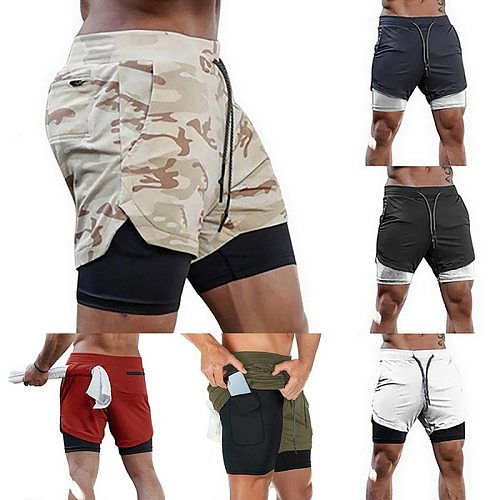 Men 2 in 1 Running Shorts  Gym Fitness Training Quick Dry Beach Short Pants Male Summer Sports Workout Bottoms Clothing 2021