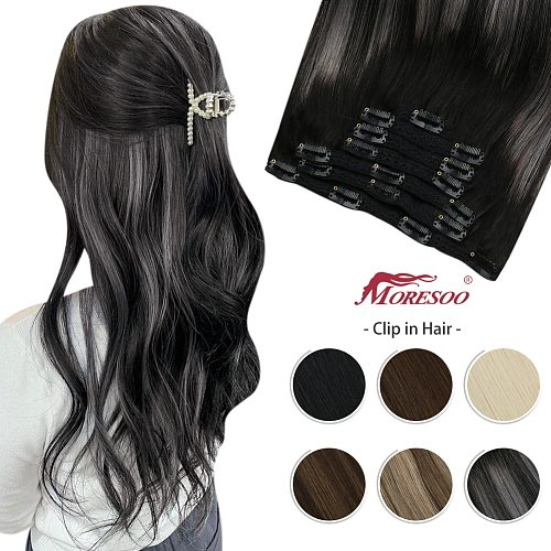 Moresoo Clip in Hair Extensions Real Human Hair Balayage 10-24 Inch Double Weft Hairpiece for Women Natural Machine Remy