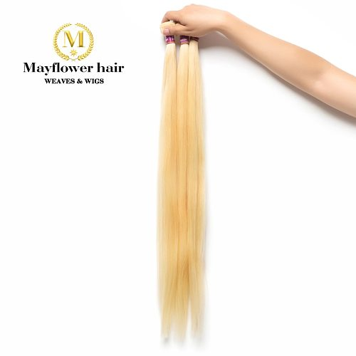 MFH Blonde 613 Virgin Malaysian straight hair weft 1/2/3/4 bundles 12-28  mixed length durable hair can be restyle Free shipping