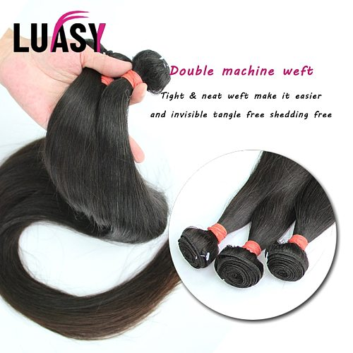 LUASY 28 30 32  38 40Inch Straight Bundles Brazilian Hair Weave Bundles Raw Thick Natural Remy Human Hair Bundles Extension Weft