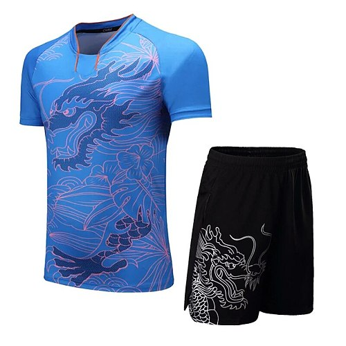 CHINA Dragon Women Tennis Set Men Badminton Table Tennis Shirt+Shorts Breathable ping pong clothes Sport Clothes Men tennis suit