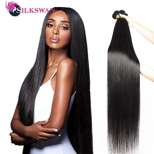 30 32 34 Inch Straight Human Hair Bundles Hair Weave 1/3/4 Pieces Brazilian Remy Natural Hair Extension Silkswan Hair Weft