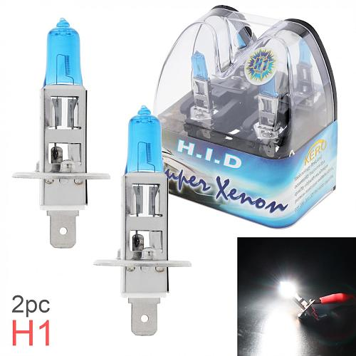 2pcs 12V H1 55W 6000K White Light Universal Super Bright Car Xenon Halogen Lamp Auto Front Headlight Fog Bulb