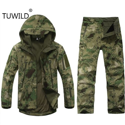 Sharkskin outdoor hunting Ghillie suit camping waterproof jacket tad4.0 soft shell fleece jacket + pants sniper camouflage