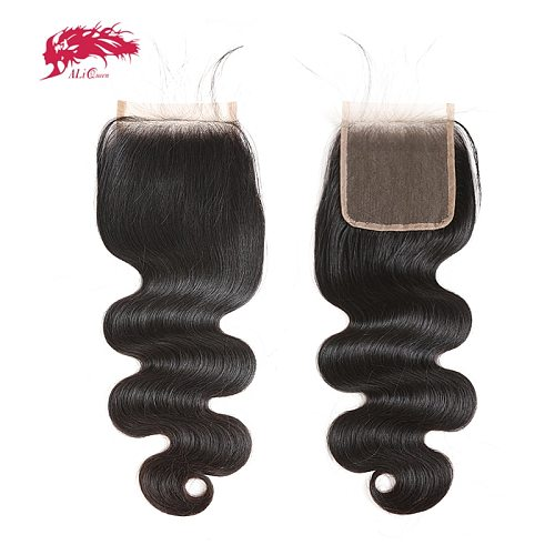 Ali Queen 4x4 5x5 HD Lace Closure Pre-Plucked With Baby Hair 10~20inch Brazilian Body Wave Virgin Human Hair Lace Closure