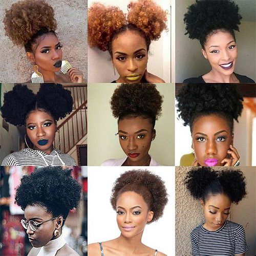 Ombre Afro Kinky Curly Ponytail Brazilian Remy Human Hair Drawstring Afro Puff Pony Tail Clip In Hair Extensions Ponytail 1B/30