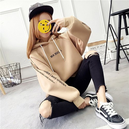 New Autumn Women Letter Skateboarding Hoodies Pullover Harajuku Loose Oversized Hip Hop Hoodie Top Warm Outerwear Coat