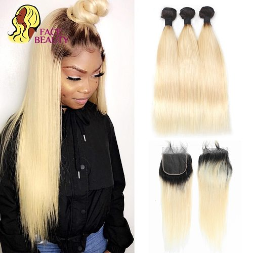 Facebeauty 1B 613 Honey Blonde Brazilian Straight Remy Human Hair 3 4 Bundles with Lace Closure 4x4 Ombre Bundles with Closure
