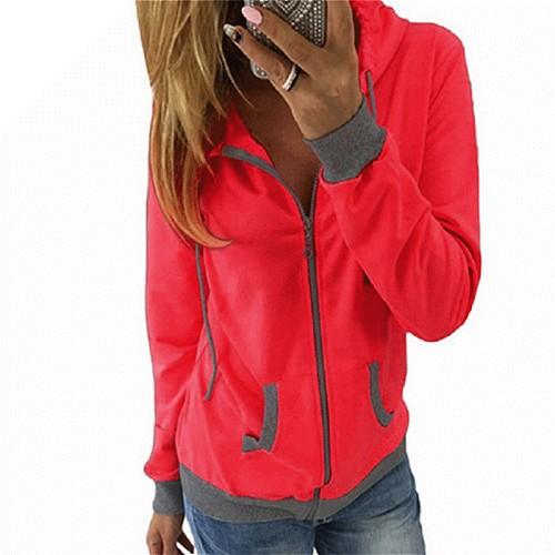 Women Skateboard Sport Hoodies Long Sleeve Patchwork Sweatshirts Casual Pockets Zipper Hooded Ladies Outerwear Clothing Tops