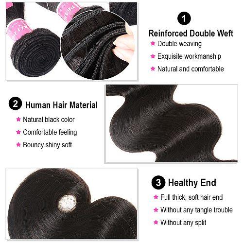 Ali Pearl Hair Body Wave Brazilian Hair Weave Bundles 100% Human Hair 3 and 4 Bundles Natural Color Remy Hair Extension AliPearl