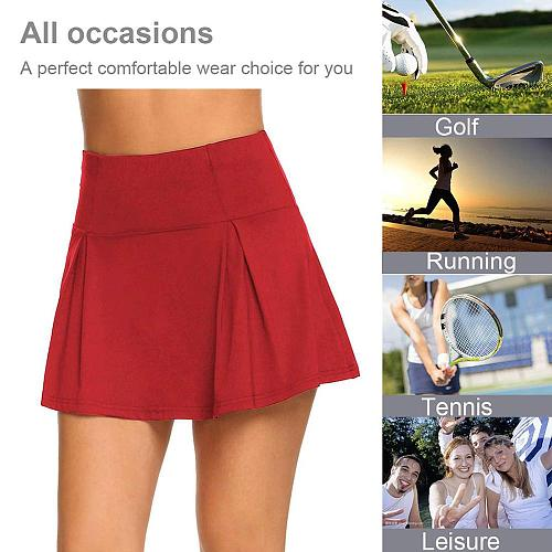2 in 1 Tennis Skirt Women Breathable Yoga Skirts Female Fake Two-piece Sports Golf Shorts Casual Gym Exercise Bottoms Skirts
