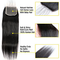 BAISI Brazilian Hair Straight Lace Closure 4x4 HD Human Hair Swiss Lace Closure Transparent Middle Free Part Top Closures Only