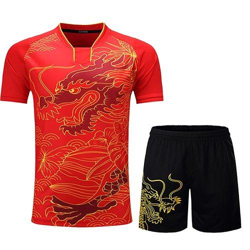 CHINA Dragon tennis jerseys po shirts set Women/Men, Badminton sets pingpong badminton T-shirt shorts clothes , table tennis set