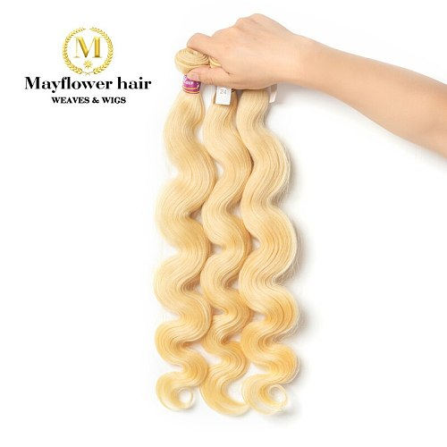 Mayflowe 10A Blonde 613 Malaysian virgin hair body wave 1/2/3/4 bundles from 12-26  No red hair No smell no tangle Free shipping