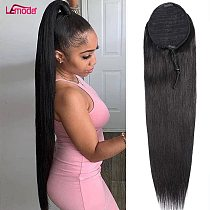 30 Inch Straight Ponytail Human Hair Extension Long Clip In Drawstring Ponytail Brazilian Lemoda Remy Human Hair For Women