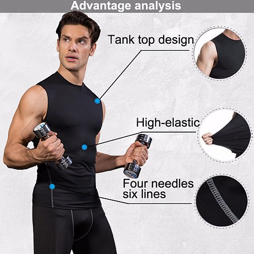 Quick Dry Men Running Vest Training Workout Vest Fitness Sports Tank Male Exercise Tights Gym Clothing Sleeveless Mens Tops Tank