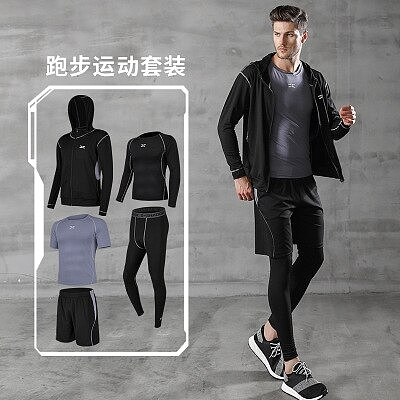 5 Pcs/Set Men's Tracksuit Compression Sports Suit Gym Fitness Clothes Running Jogging Sport Wear Training Workout Tights