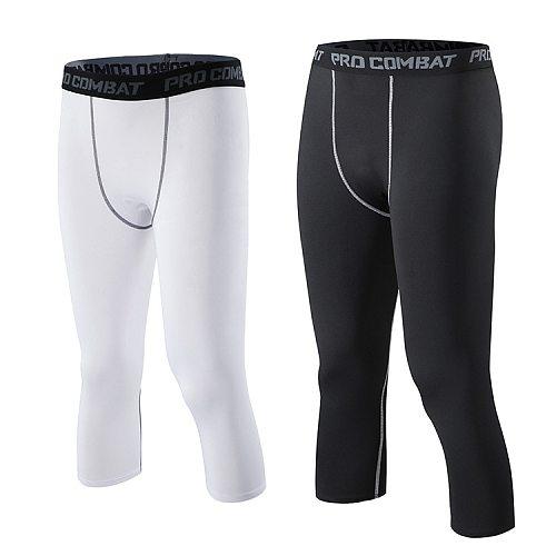 Compression Man Sport Capri Pants Men Sports Tights Basketball Tights Male Compress GYM Run Crossfit Leggings 3/4