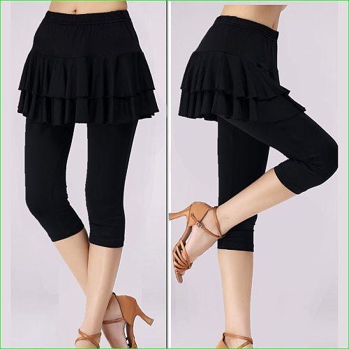 Tennis Badminton Dance Tights Woman Compression Knee Length Skirt Pants Sports Double Layer
