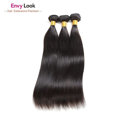 Envy Look Natural Color Straight Unprocessed Brazilian Virgin Hair 3/4 Bundles Machine Remy Double Weft For Black Women Salon