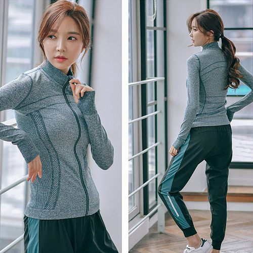 Sports Jacket Female Quick Dry Zipper Running Long Sleeve Tight Fitness Yoga Clothes Top Outdoor Coat Hooded Sweater