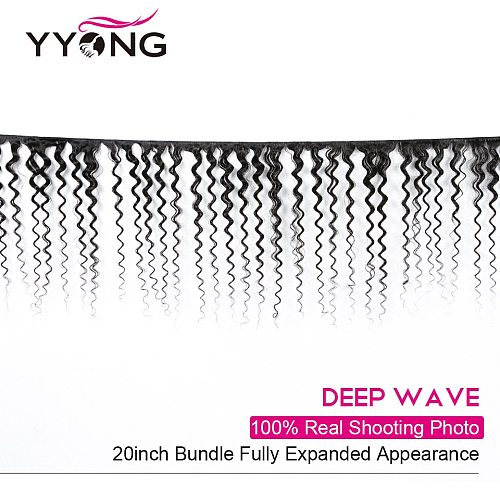 YYong Hair Brazilian Deep Wave Human Hair 3 Bundles With 4x4 Lace Closure Medium Brown, Remy Brazilian Hair Bundles With Closure