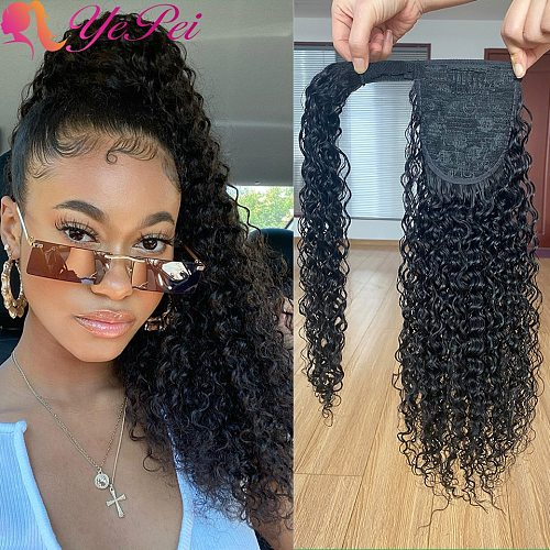 Kinky Curly Wrap Around Ponytail Human Hair Brazilian Magic Paste Pony Tail Extensions Hairpieces For Women Remy Hair
