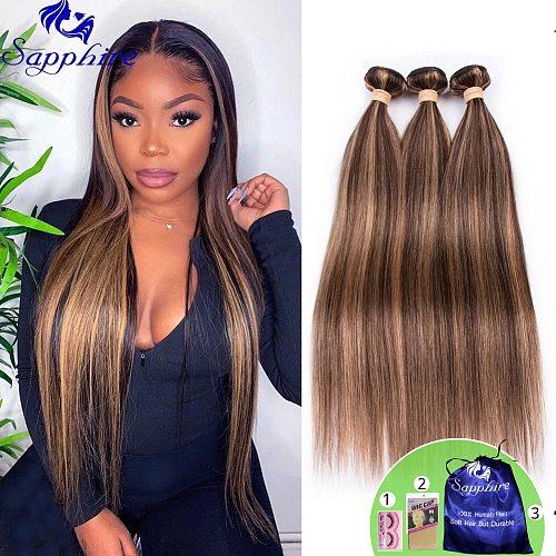 Highlight Bundles Brazilian Straight Human Hair Bundles Ombre Brown Straight Hair Bundles 3 Bundles Remy Human Hair Extensions