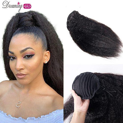 Kinky Straight Ponytail Clip In Human Hair Extensions Italian Yaki Kinky Drawstring Ponytail Remy Brazilian Hair Kinky Ponytail