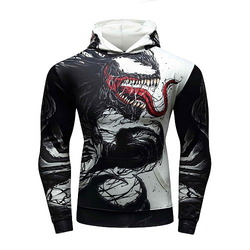 New mens sportswear hoodies quick-drying running football suit sweater gym tight clothes riding pullover movie 3D printing