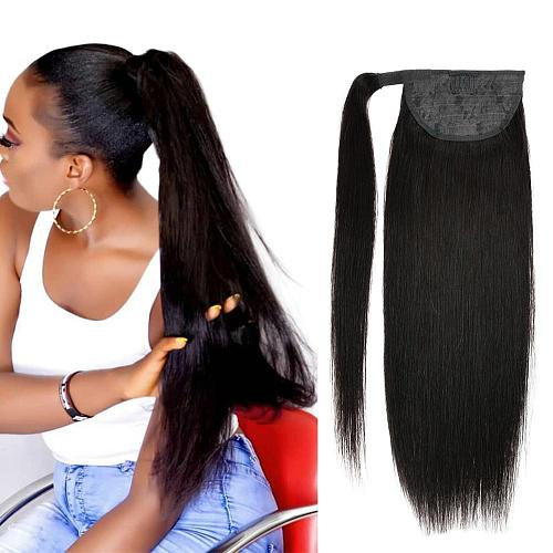 Real Beauty Ponytail Human Hair  Remy Hair Extensions European Warp Around Drawstring Clip Ins Ponytail Highlight Blonde Brown