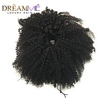 Clip ins Human Hair Drawstring Ponytail Extension Kinky Curly Ponytail Human Hair Brazilian Clip Ins Ponytail For Women Black