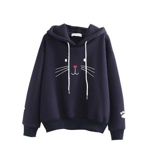 Sports Cute Cat jacket Sweatshirt basketball hoodie Plus Velvet women's Solid Color long-sleeved Jacket sudadera deportiva mujer