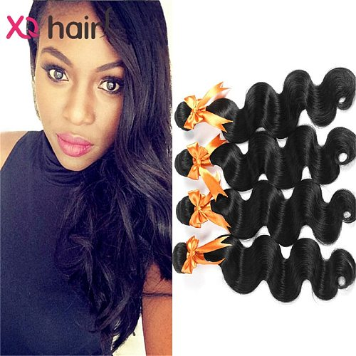 XQ Hair Malaysian Body Wave 100% Human Hair Weave Bundles 4pcs Non-remy Hair Extensions 8-26 inch Double Weft