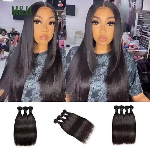 Straight Hair Bundles Brazilian Hair Bundles Remy Human Hair Extensions 1/3/4 Bundle Deals Weave Double Weft Weave