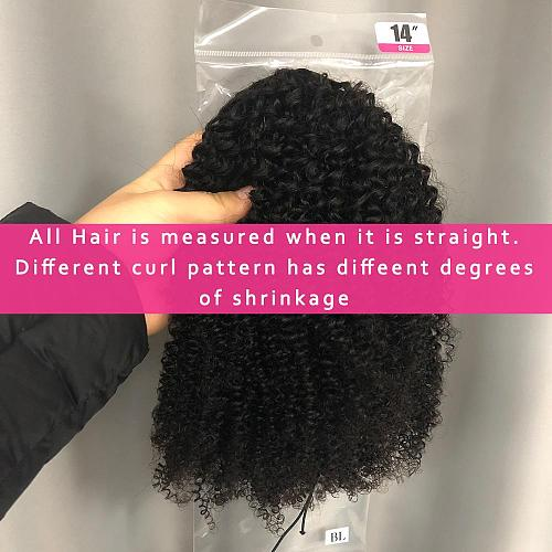 Alibele Mogolian Afro Kinky Curly Drawstring Ponytail Extensions 4B 4C Remy 8-20 inch Long Clip In Ponytail Human Hair Extension