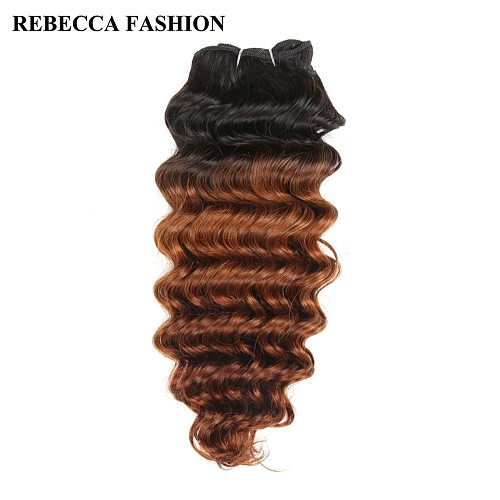 Rebecca Remy Human Hair Brazilian Deep Wave Hair Weave bundles 100g Pre-Colored Ombre Brown T1b/30 For Salon Hair Extensions
