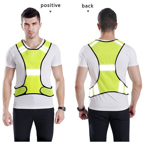 Reflective Safety Running Vest High Visibility Safety Breathable Traffic Night Work Security Run Cycling Unisex Reflective Strip