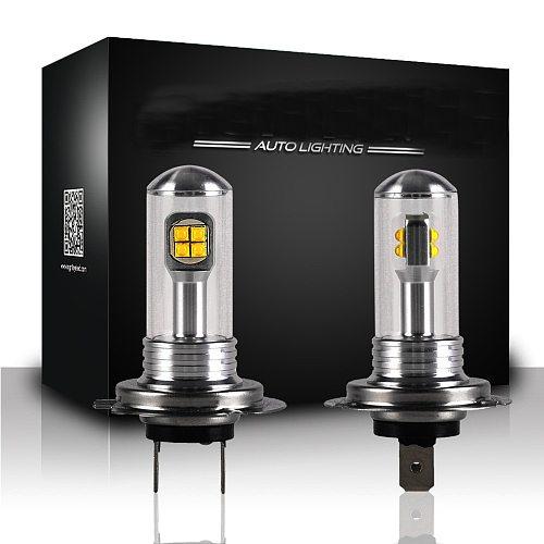 NOVSIGHT 2Pcs H7 Led Bulb Fog Lights 3000LM 6000K 12V White DRL Daytime Running Car Lamp Auto Light D45