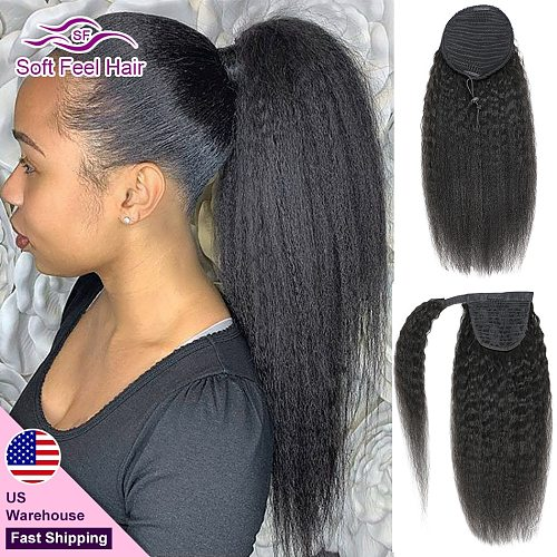 Brazilian Kinky Straight Ponytail Wrap Around Drawstring Human Hair Ponytail For Women Remy Clip Ins Extensions Soft Feel Hair