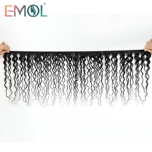 Emol Indian Water Wave Bundle Hair Extension 8 -28  1B Natural Color Human Hair Weave Bundles 3/4 Pcs Non-Remy