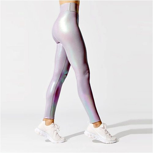Women Shiny Sport Leggings High Rise Stretchy Fitness Gym Wears Compressive Breathable Push Up Iridescent Yoga Tights