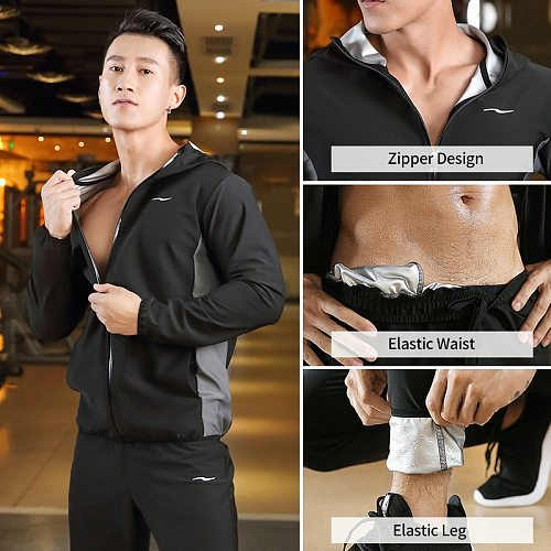 Sauna Suit Slimming Men Zipper Hoodies Gym Clothing Set for Weight Loss Running Fitness Training Sweating Sportswear Workout Set